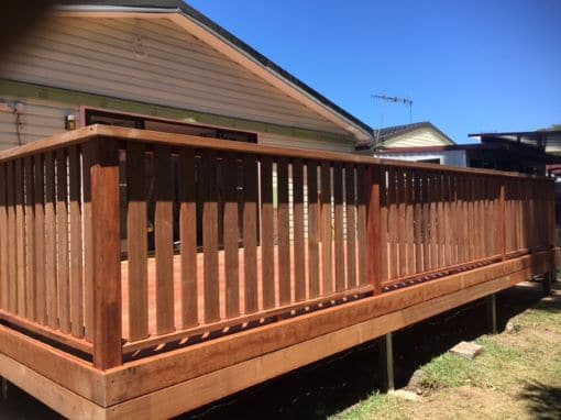 Timber decking job with new timber rails