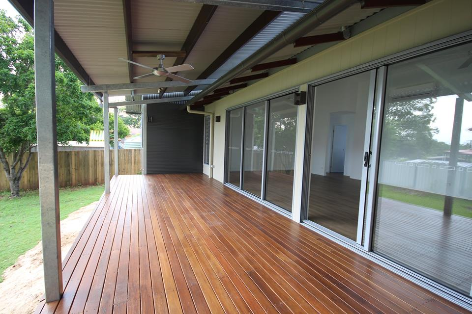 deck with sliding glass doors
